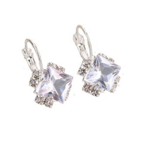 Square Crystal Dangle Silver Plated Earring 461-ss